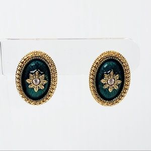 💜Vintage Green And Gold Oval Earrings